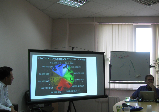 Tom Michalek's presentation on the Native Americans' History And Culture in ICAN, English speaking club in Minsk, Belarus